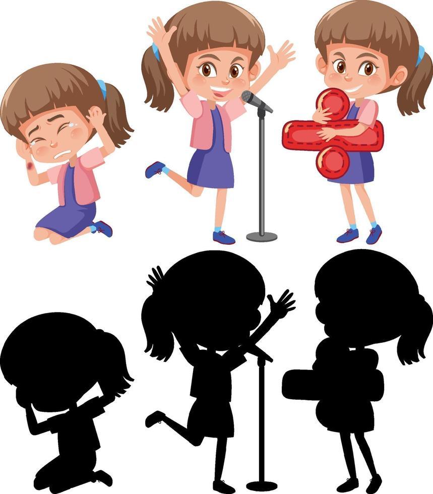 personnage de dessin animé d & # 39; une fille faisant différentes activités vecteur