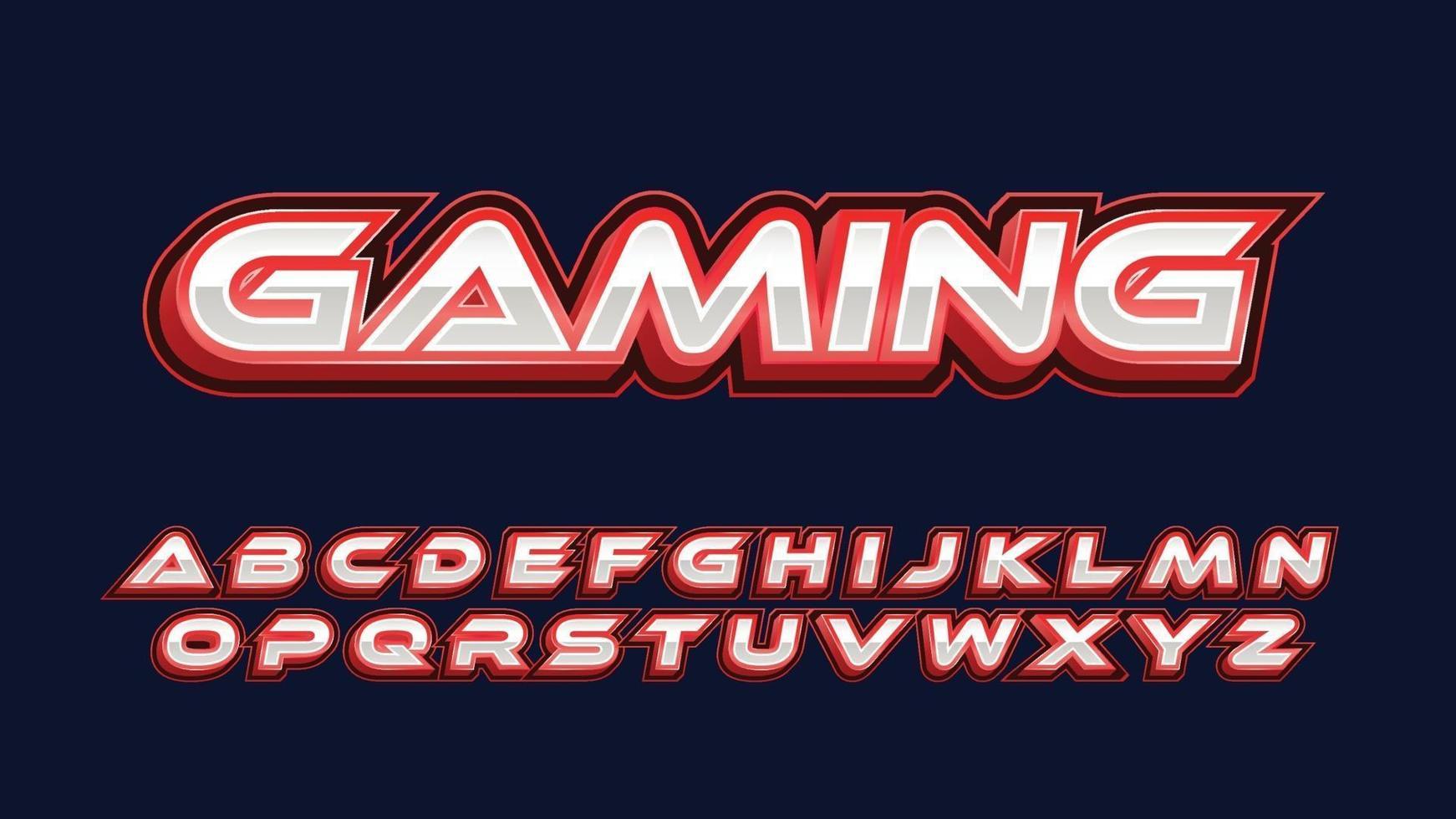 typographie de jeu futuriste rouge et chrome vecteur
