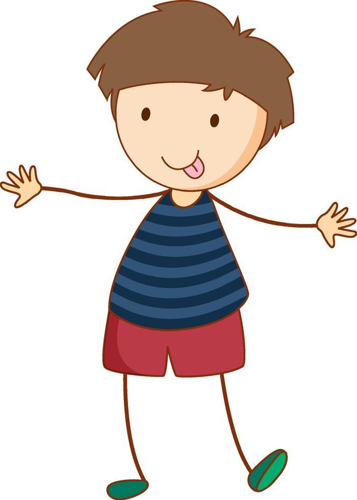 un personnage de dessin animé garçon dans un style doodle dessiné à la main vecteur