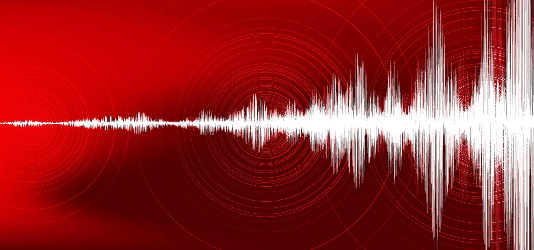 vague de tremblement de terre numérique avec vibration de cercle sur fond rouge foncé, concept de diagramme d'onde audio, conception pour l'éducation et la science, illustration vectorielle. vecteur