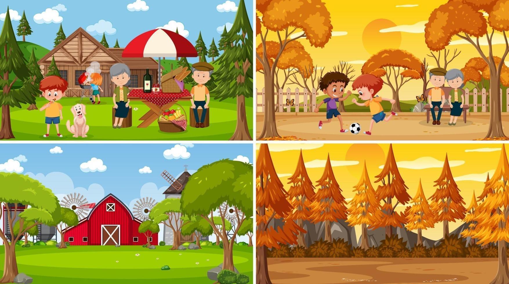 ensemble de style de dessin animé de différentes scènes de la nature vecteur