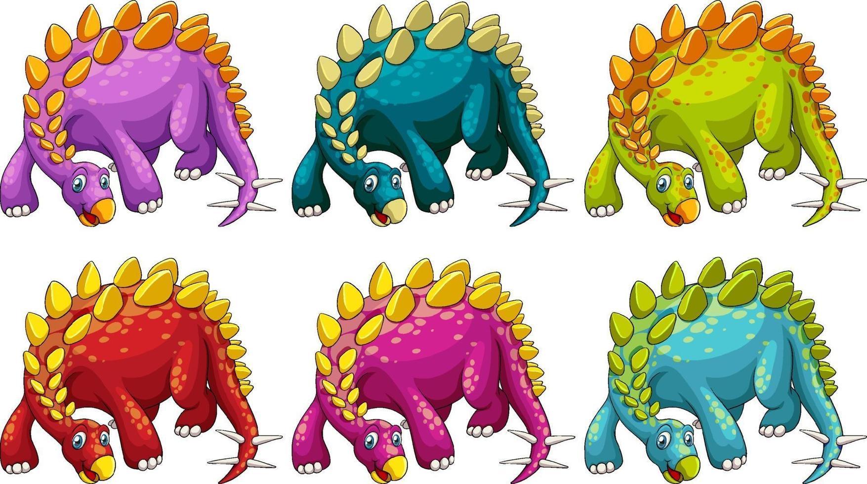 un personnage de dessin animé de dinosaure stégosaure vecteur