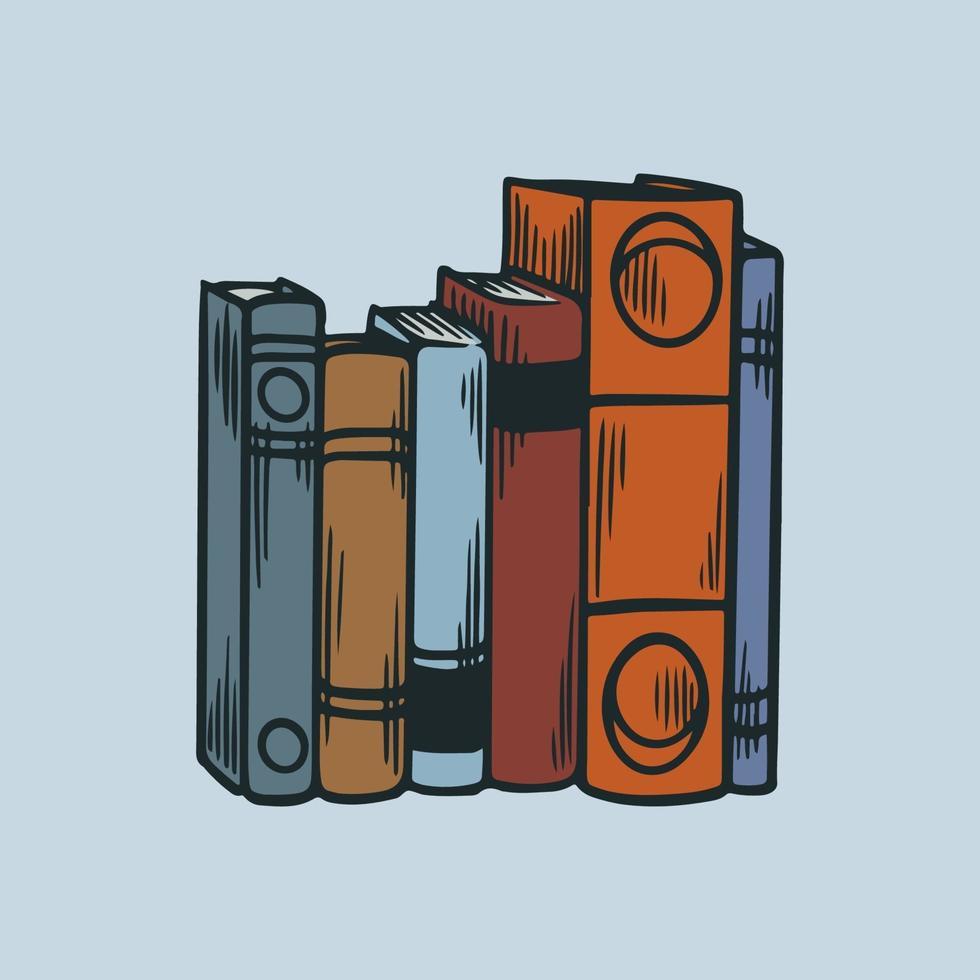 pile de bouquins. pile de livres de bibliothèque avec des icônes de gravure dessinés à la main esquisse vintage illustration vectorielle orgelet Littérature de bibliothèque, école de livres de piles, concept de connaissances et d'éducation vecteur