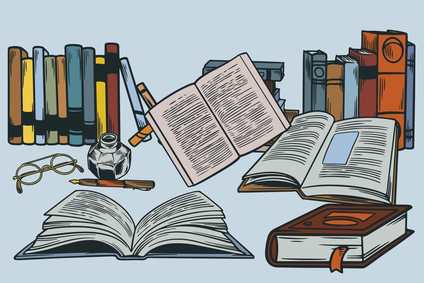définir un croquis de piles de livres avec des lunettes, un stylo et un stylo à encre. pile de livre rétro avec des pages ouvertes et un stylo ancien et un stylo à encre. illustration vectorielle dessinés à la main pour l'élément de conception de l'éducation vecteur