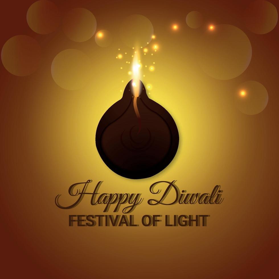 joyeux diwali le festival de la lumière carte de voeux avec diwali diya vecteur