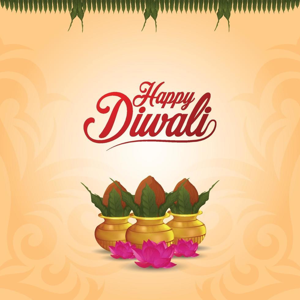 joyeux diwali le festival de la carte de voeux de célébration de la lumière avec kalash créatif vecteur