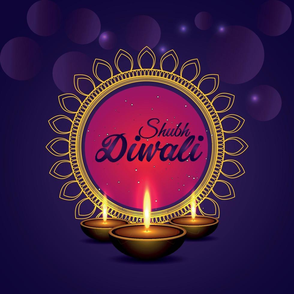 illustration vectorielle de joyeux diwali célébration carte de voeux sur fond violet vecteur