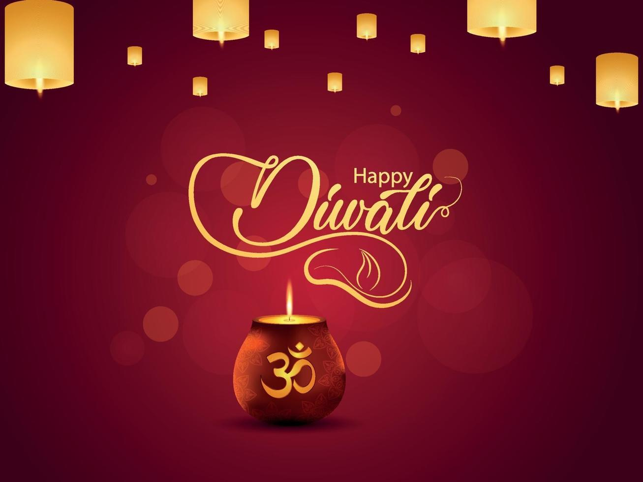carte de voeux joyeuse fête de diwali avec pot lumineux créatif et lampe diwali vecteur