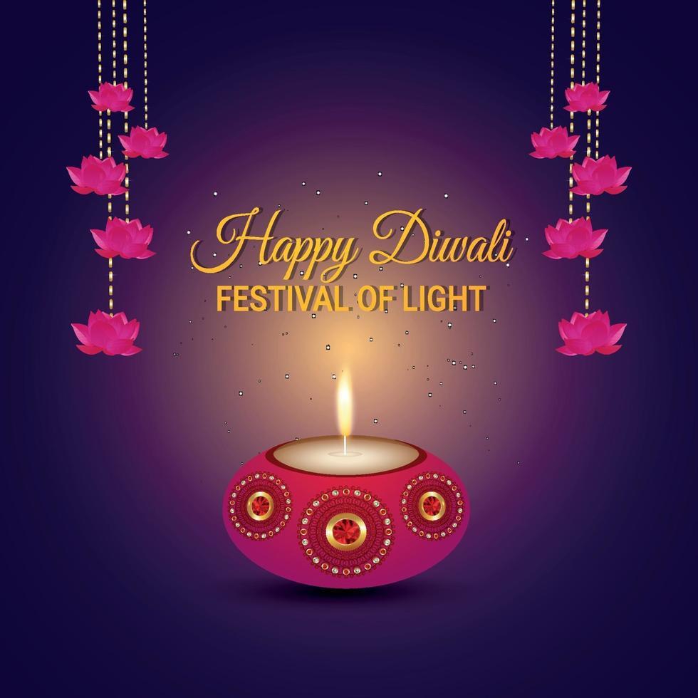 carte de voeux d & # 39; invitation joyeux diwali avec lampe à huile et diya vecteur