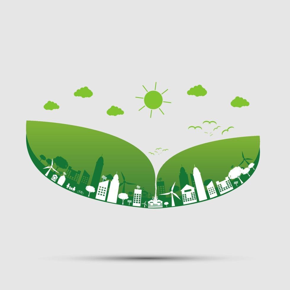 les villes vertes aident le monde avec le cloud avec des idées de concept écologiques.Illustration vectorielle vecteur