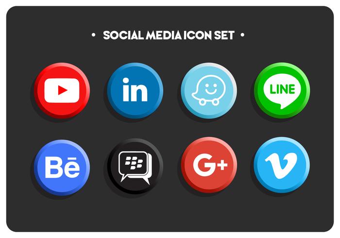 Ensemble d'icônes de médias sociaux couleur plat simple vecteur