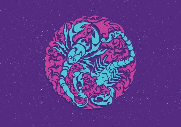 Cercle Scorpion vecteur de tatouage
