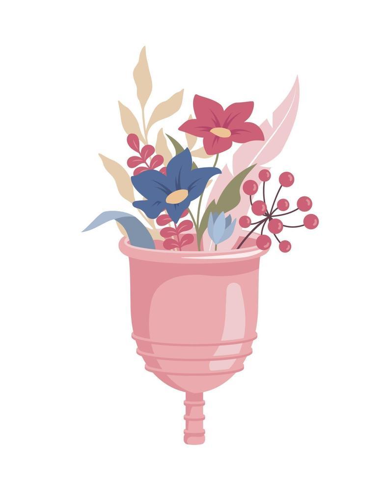 coupe menstruelle avec des fleurs vecteur
