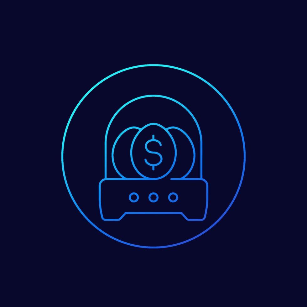 icône d'incubateur d'entreprise, conception de ligne vecteur