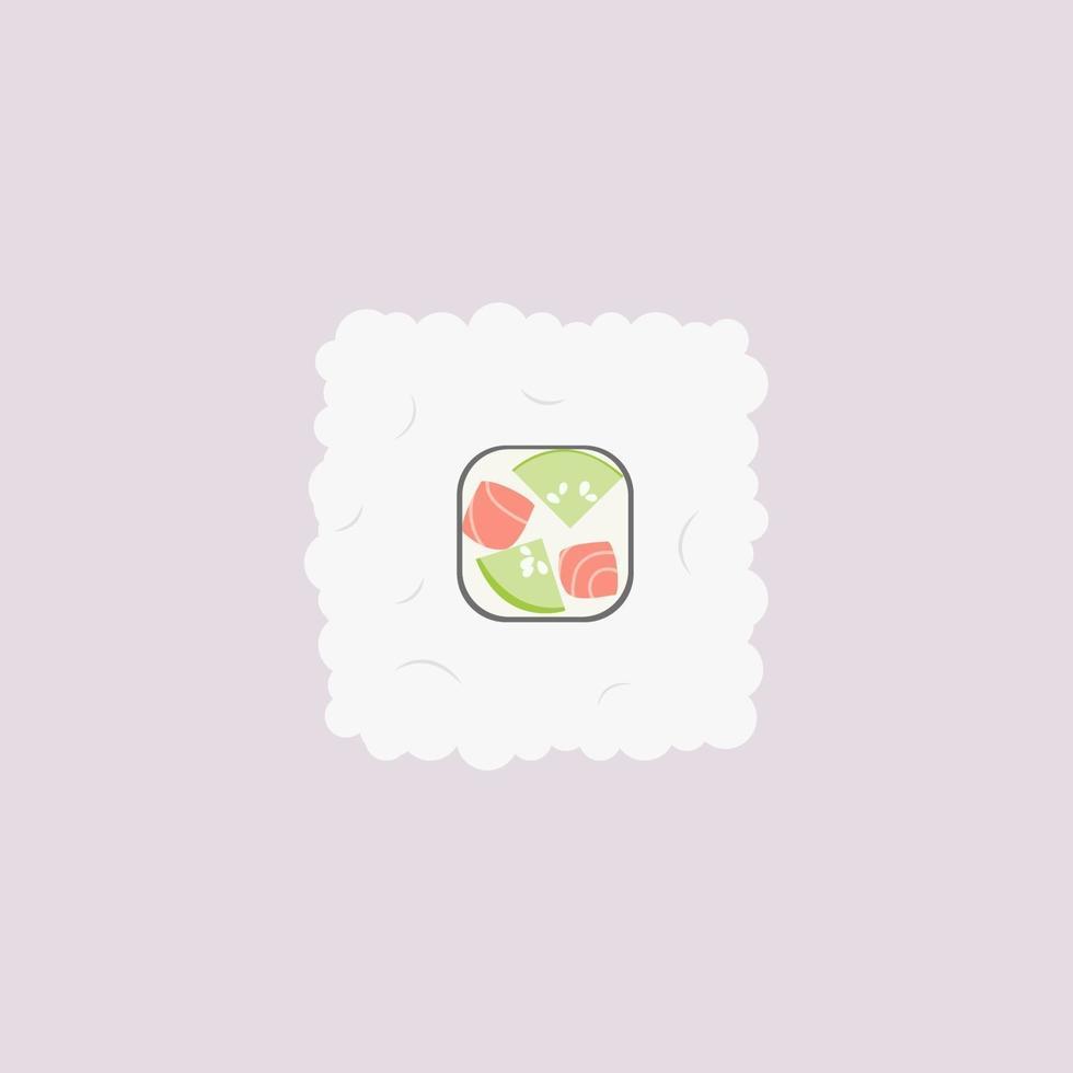 Rouleau de riz au concombre et saumon sur fond rose vecteur