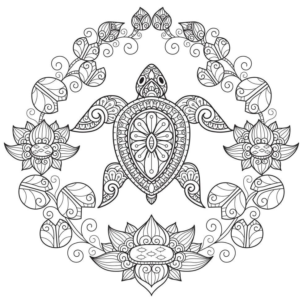 tortue et lotus sur fond blanc. croquis dessiné à la main pour ...