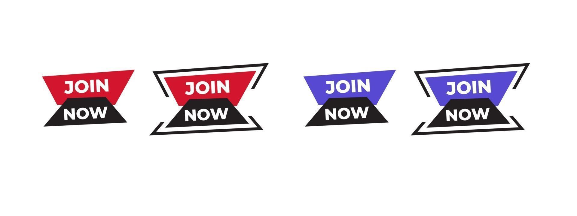 rejoignez maintenant l'icône d'autocollant de vecteur. conception avec une forme moderne pour le tiers inférieur, logo, diffusion, bannière publicitaire. illustration vectorielle. vecteur