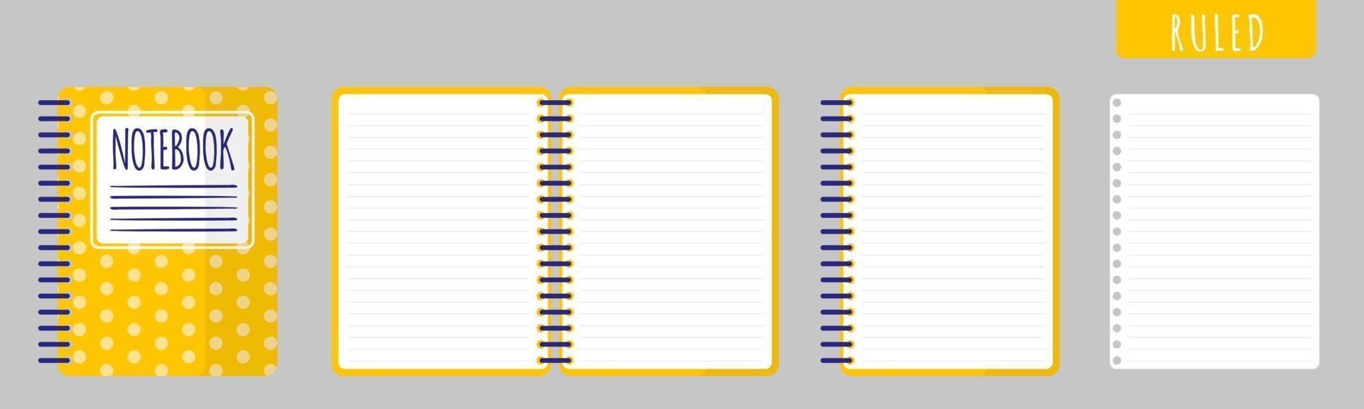 illustration de dessin animé de vecteur avec cahier gouverné, cahier ouvert et feuilles vierges sur fond blanc.