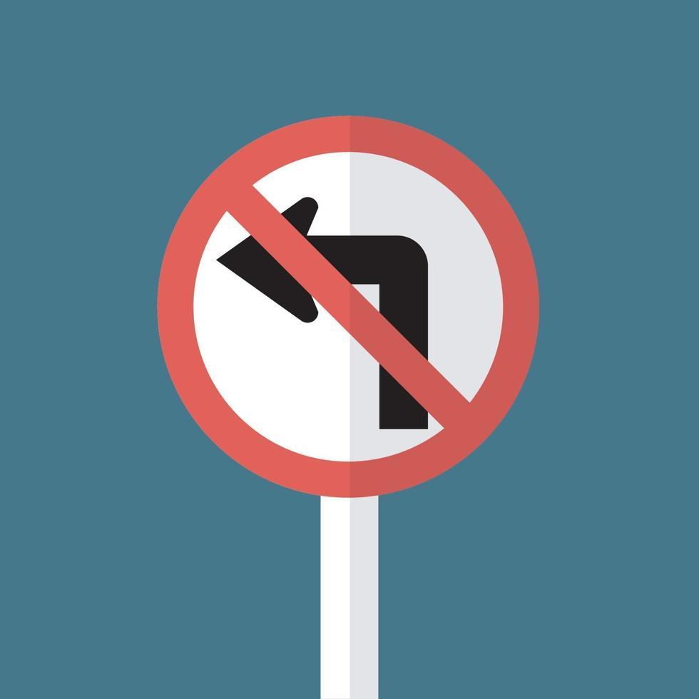 ne pas tourner à gauche panneau de signalisation vecteur