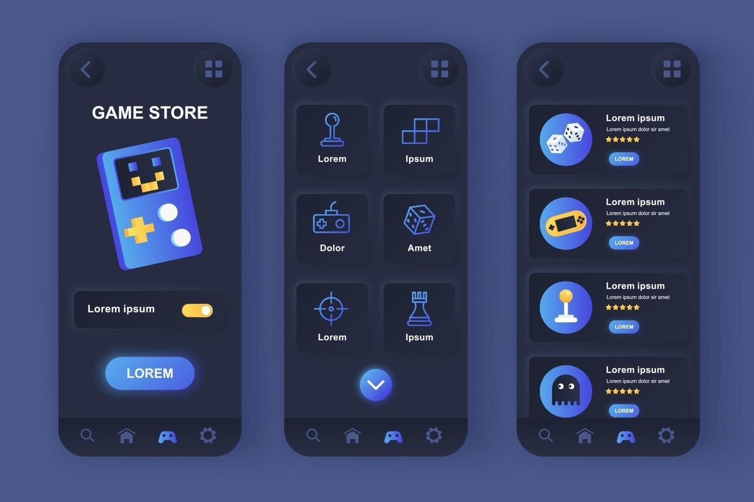 kit de conception d'application mobile néomorphe unique pour le magasin de jeux vecteur