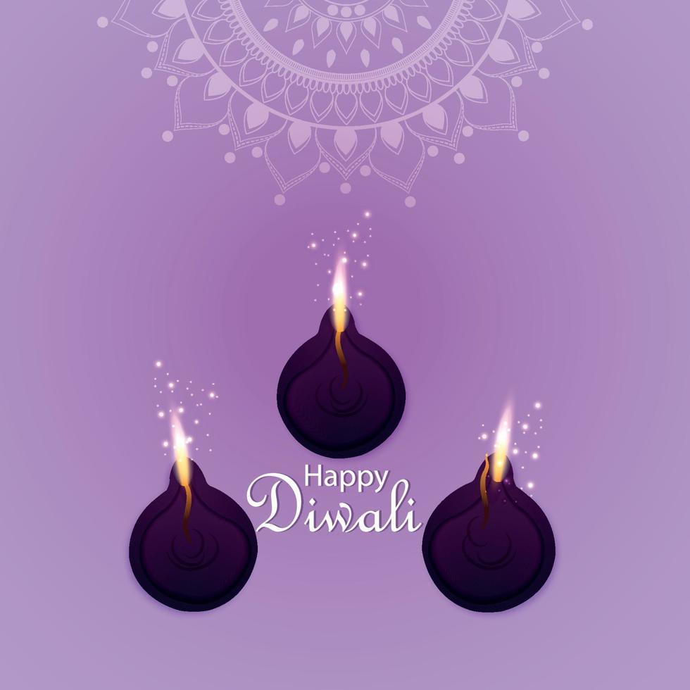 illustration vectorielle de joyeux diwali invitation carte de voeux avec lampe à huile vecteur créatif sur fond violet