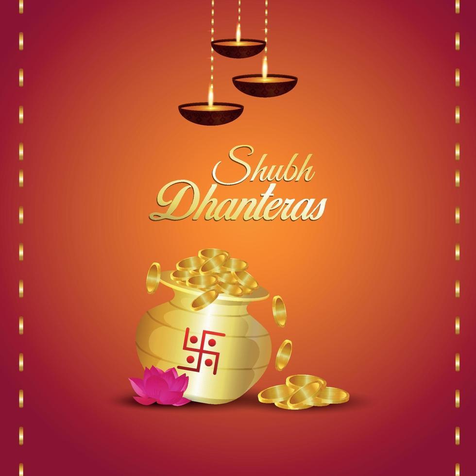 Carte de voeux d'invitation de shubh dhanteras avec illustration vectorielle créative de pot de pièce d'or vecteur