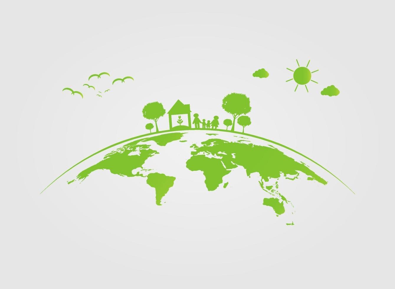 écologie, arbre sur terre, les villes aident le monde avec des idées de concept écologiques.Illustration vectorielle vecteur