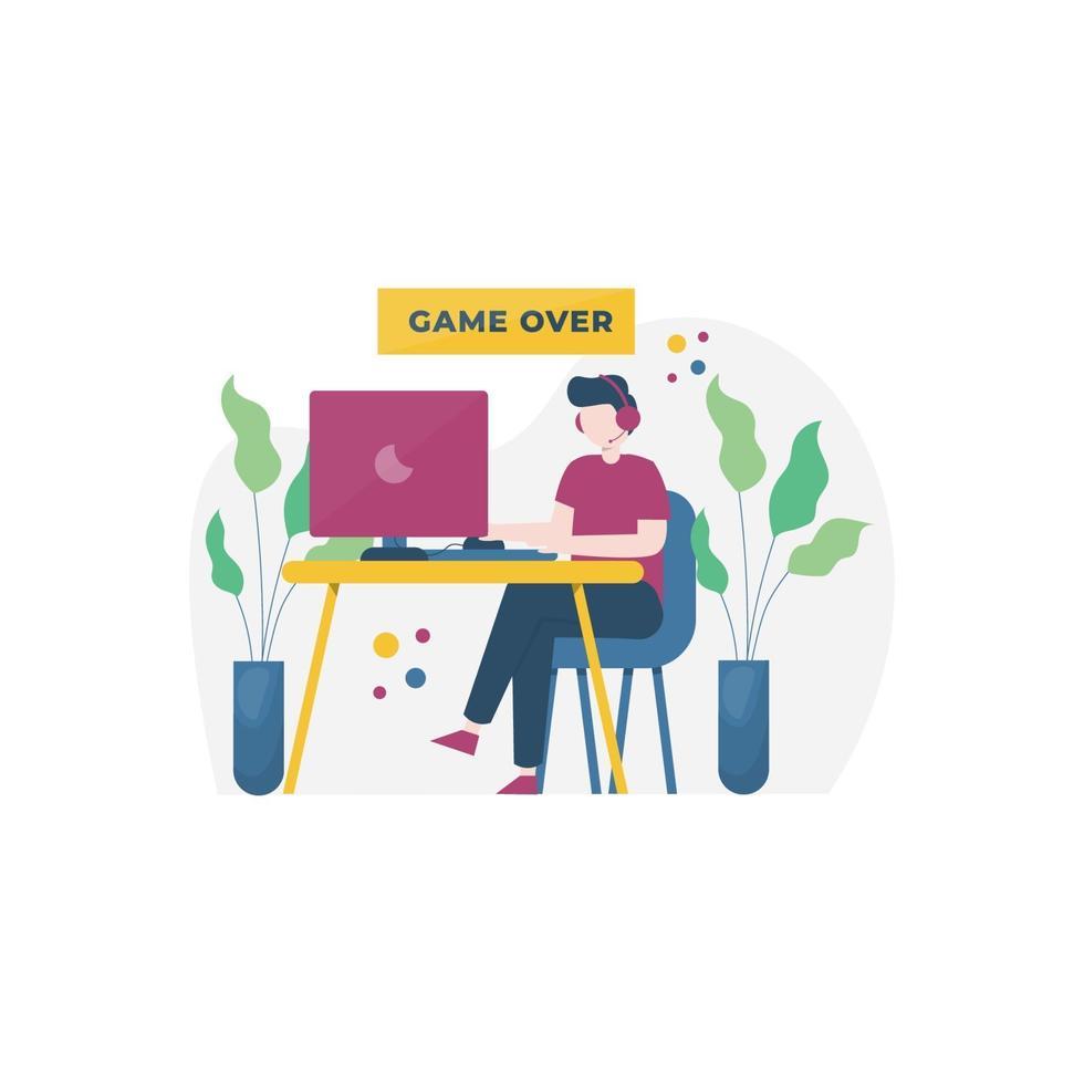 les joueurs jouent à des jeux sur pc, mobile, console et illustration vectorielle vr, adaptés à la page de destination, à l'interface utilisateur, au site Web, à l'application mobile, à la rédaction, à l'affiche, au dépliant, à l'article et à la bannière vecteur