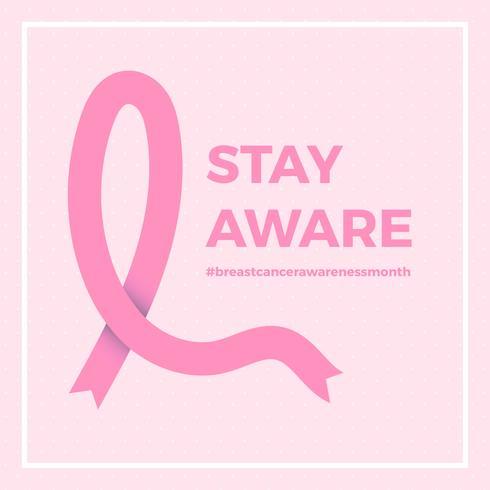 Modèle de fond de vecteur de médias sociaux sensibilisation au cancer du sein plat