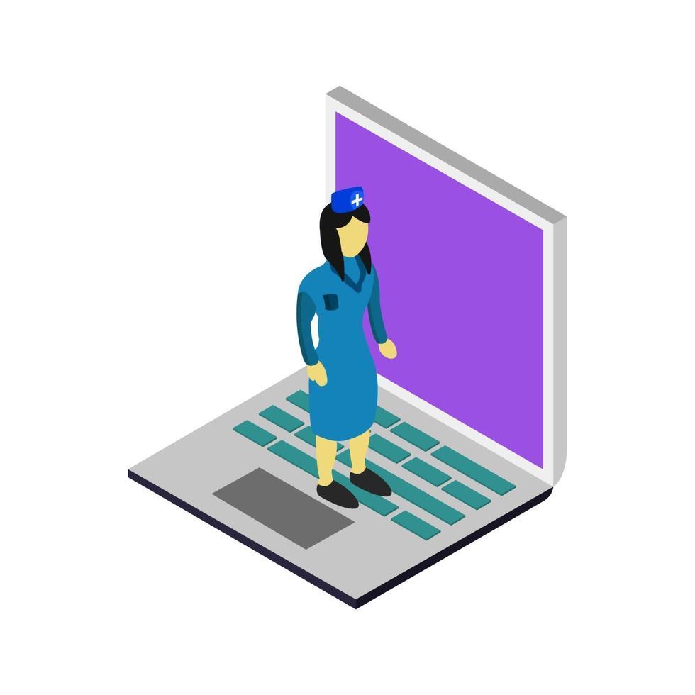 médecin isométrique sur ordinateur portable vecteur