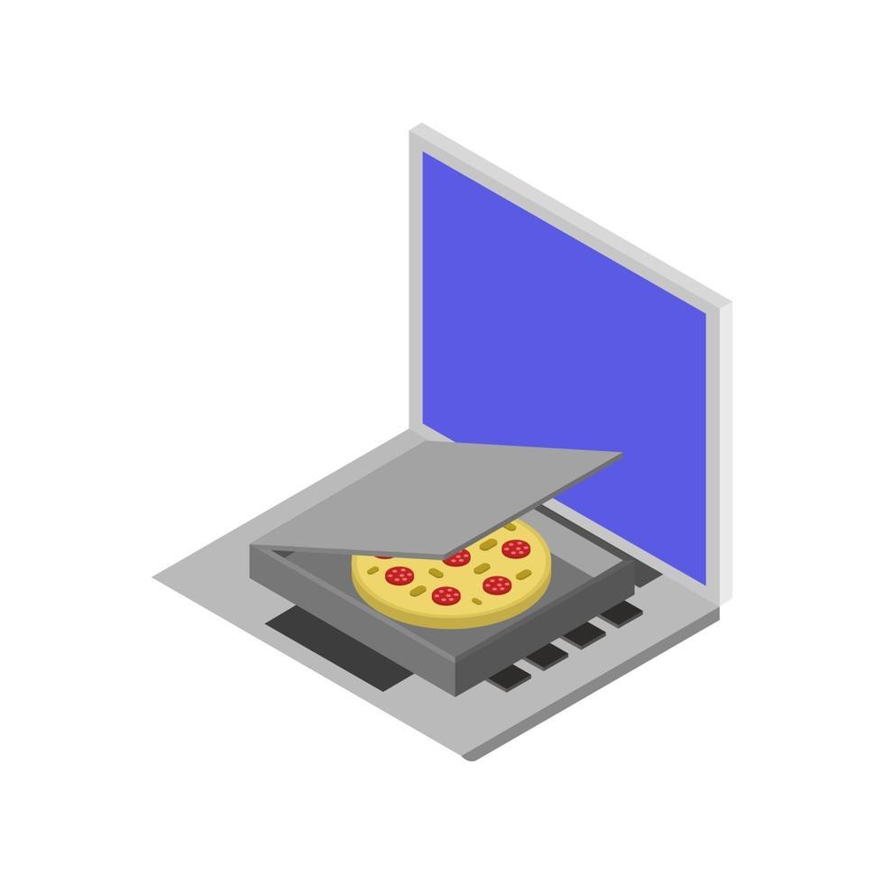 acheter de la pizza en ligne isométrique sur ordinateur portable vecteur