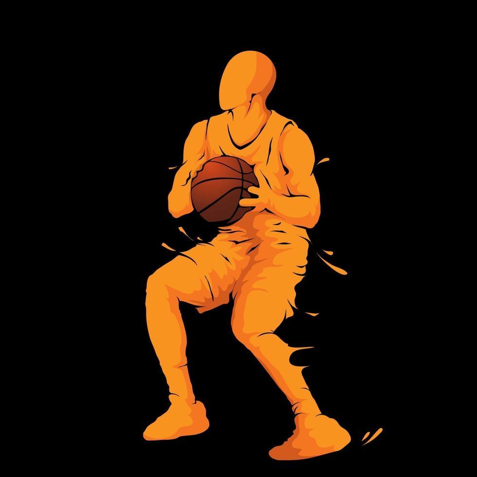 ballon de dribble de joueur de basket-ball vecteur