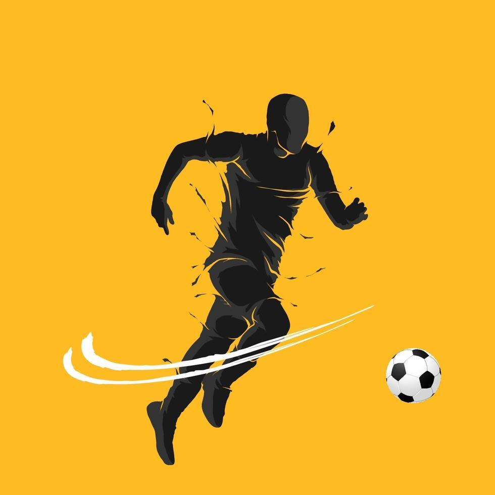 ballon de football football posant silhouette de flamme sombre vecteur