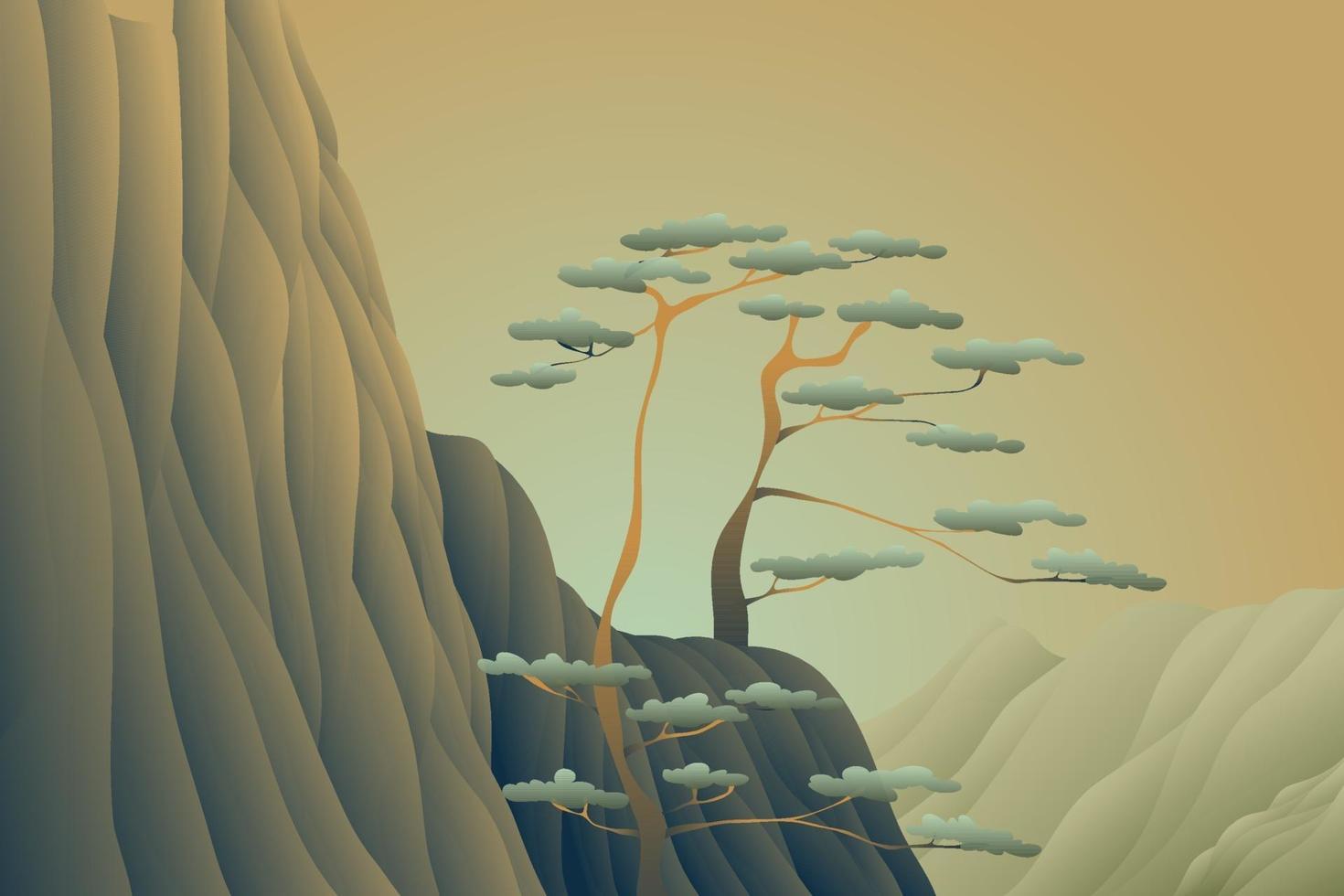 fond de paysage coucher de soleil arbre falaise vecteur