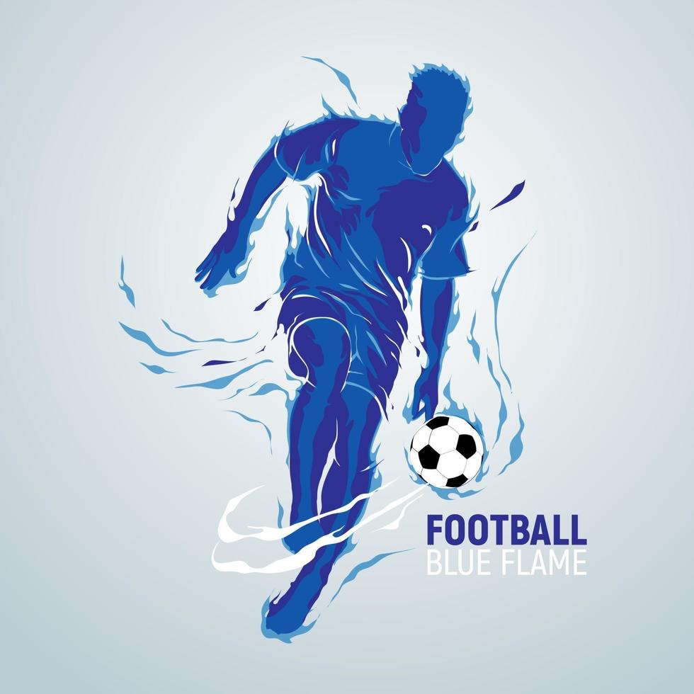 football football, flamme bleue, silhouette vecteur