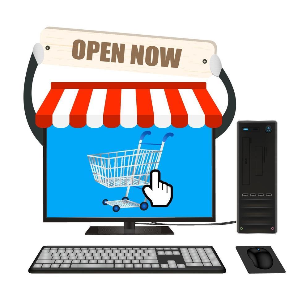 ordinateur de bureau avec boutique en ligne vecteur