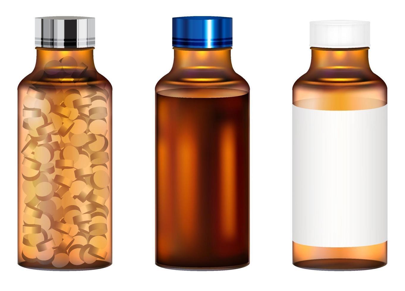 véritable bouteille de pilules de médecine en verre ambré vecteur