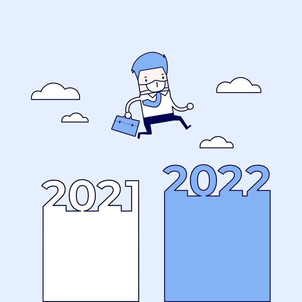 homme d & # 39; affaires masqué sautant de 2021 à 2022. vecteur de style de ligne mince de personnage de dessin animé.
