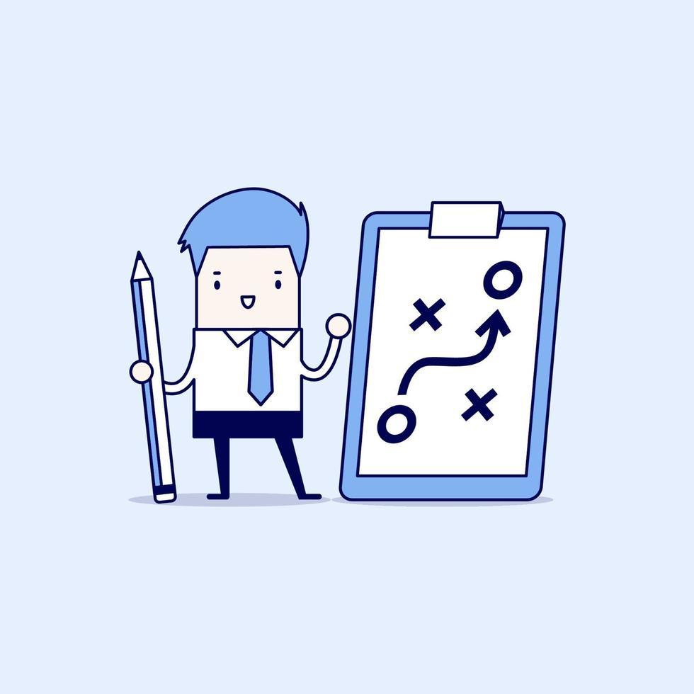homme d & # 39; affaires tenant un crayon et du papier du concept de stratégie de planification. tactique commerciale. vecteur de style de ligne mince de personnage de dessin animé.