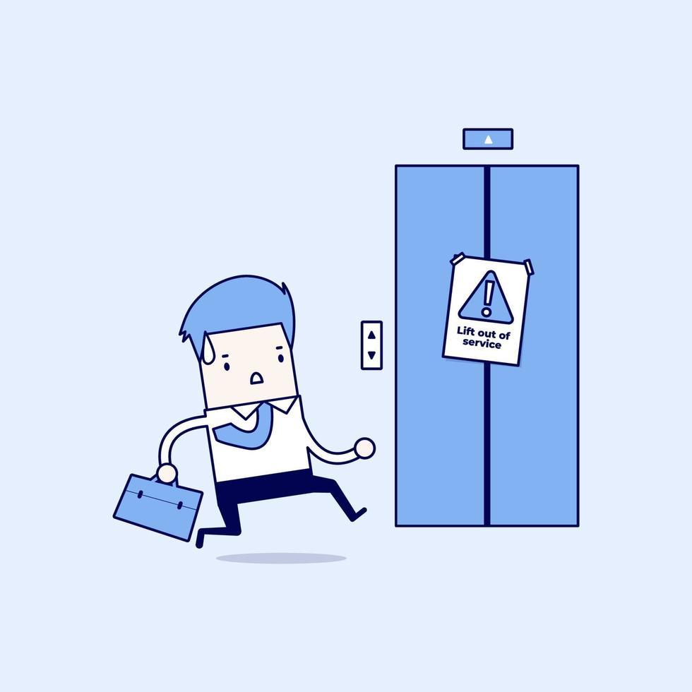 homme d'affaires court vers l'ascenseur. mais l'ascenseur est hors service. vecteur de style de ligne mince de personnage de dessin animé.