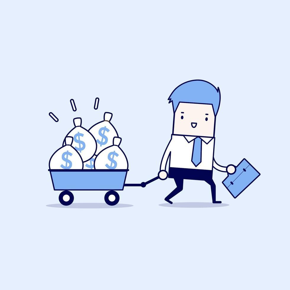 homme d'affaires marchant avec un chariot plein de sacs d'argent. vecteur de style de ligne mince de personnage de dessin animé.