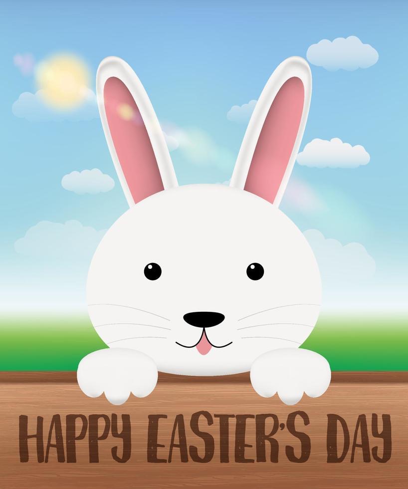 lapin blanc sur une planche de bois avec joyeux jour de Pâques vecteur