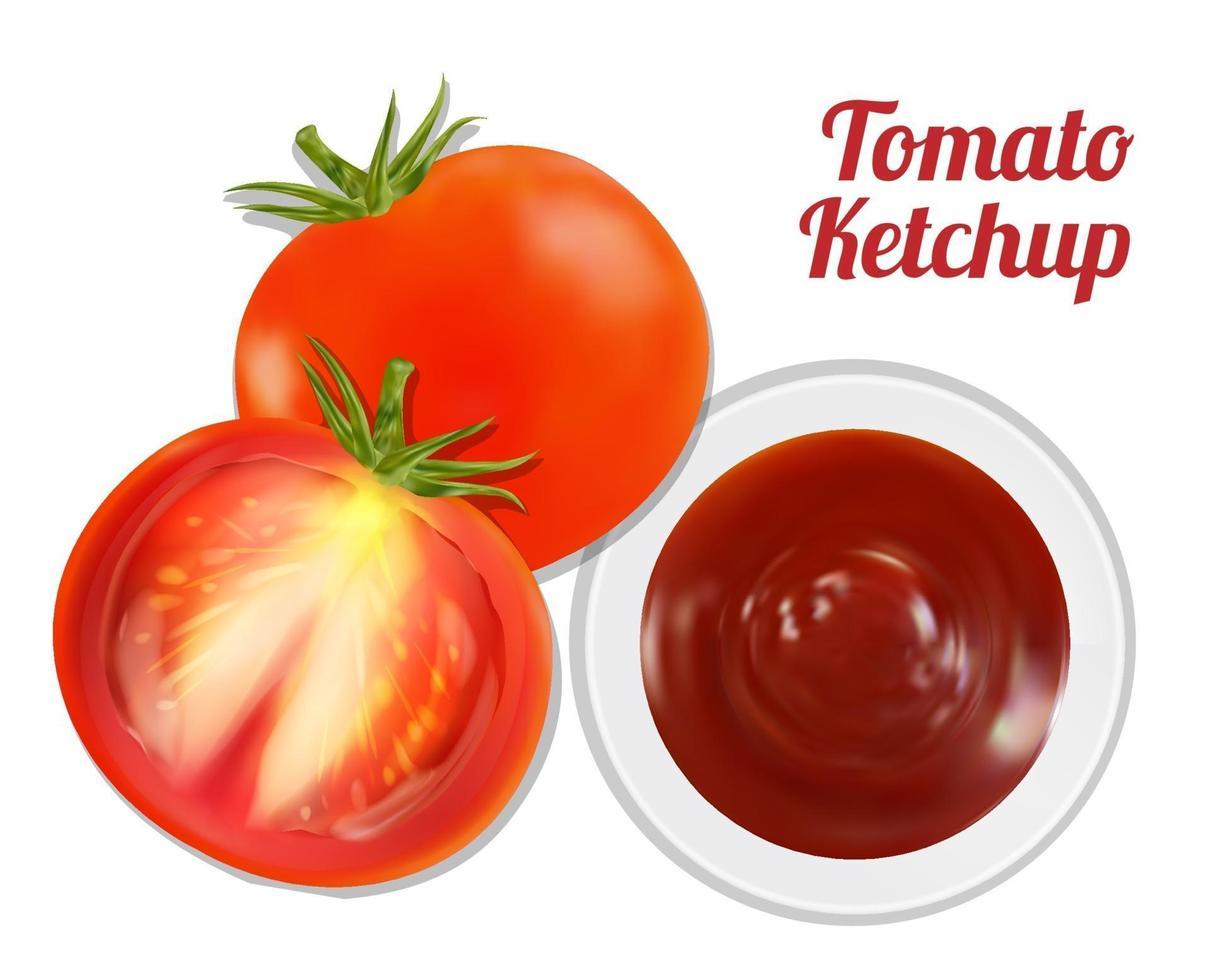 Ketchup de tomate suace dans un plat avec tomate vecteur
