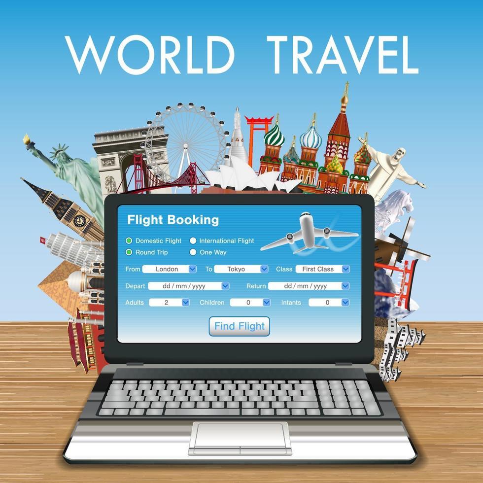 réservation de vol en ligne avec ordinateur portable avec repères de voyage vecteur