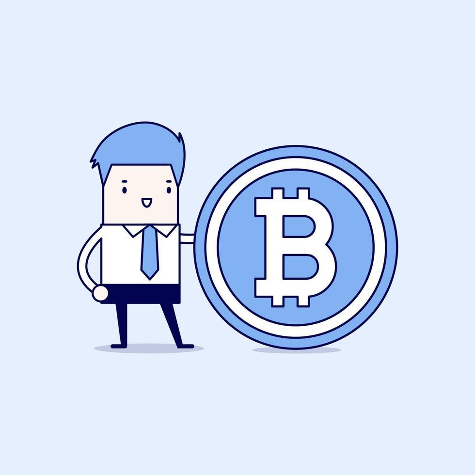 homme d'affaires avec le symbole bitcoin. vecteur de style de ligne mince de personnage de dessin animé.