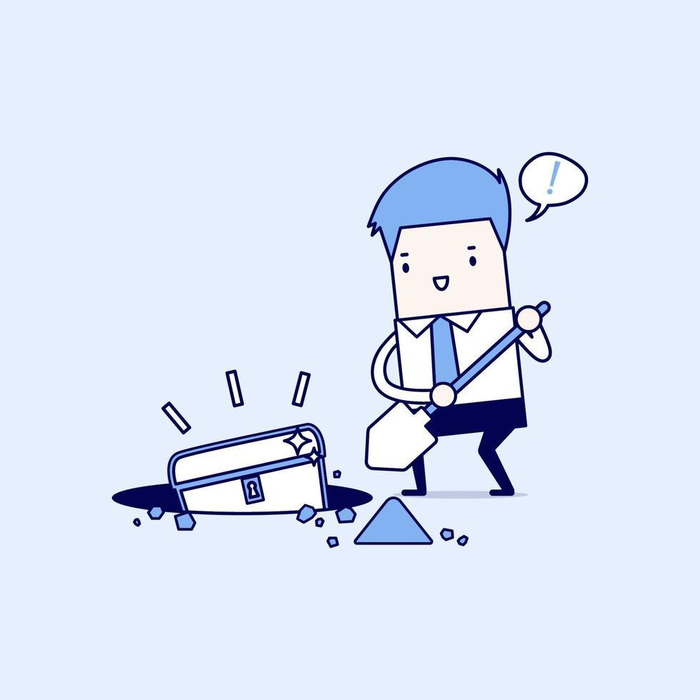 homme d'affaires creusant le sol pour un trésor. vecteur de style de ligne mince de personnage de dessin animé.