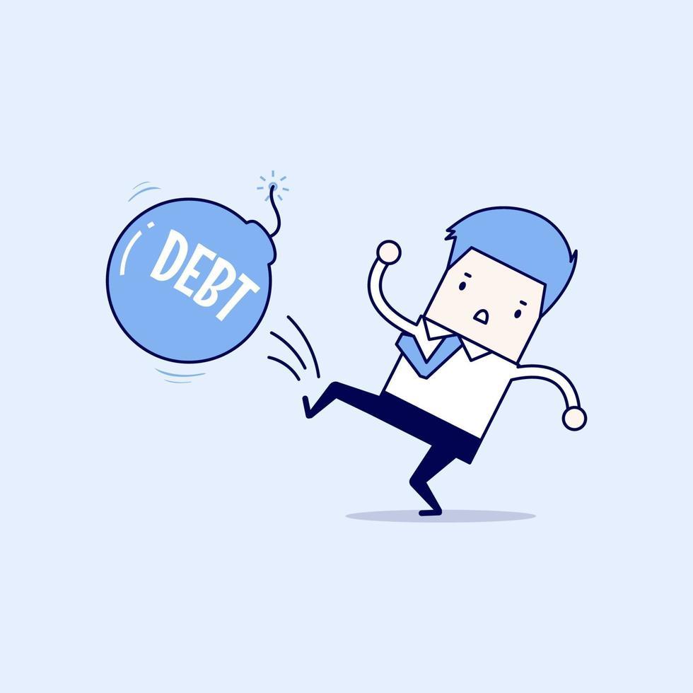 homme d'affaires donnant un coup de pied à la bombe de la dette comme un ballon de football, entreprise fiscale de réussite. vecteur de style de ligne mince de personnage de dessin animé.