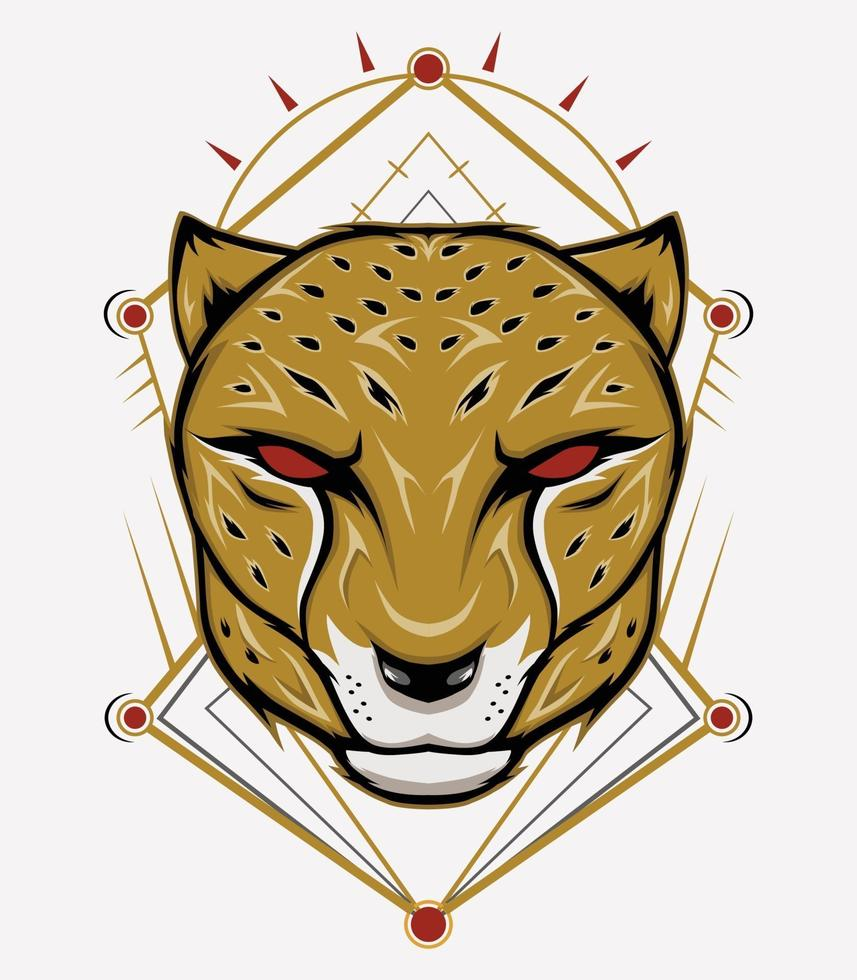 emblème de mascotte de guépard avec ornement vecteur