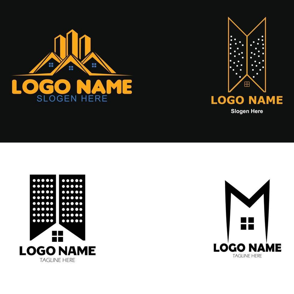 construction et immobilier entreprise logo or et ensemble noir vecteur