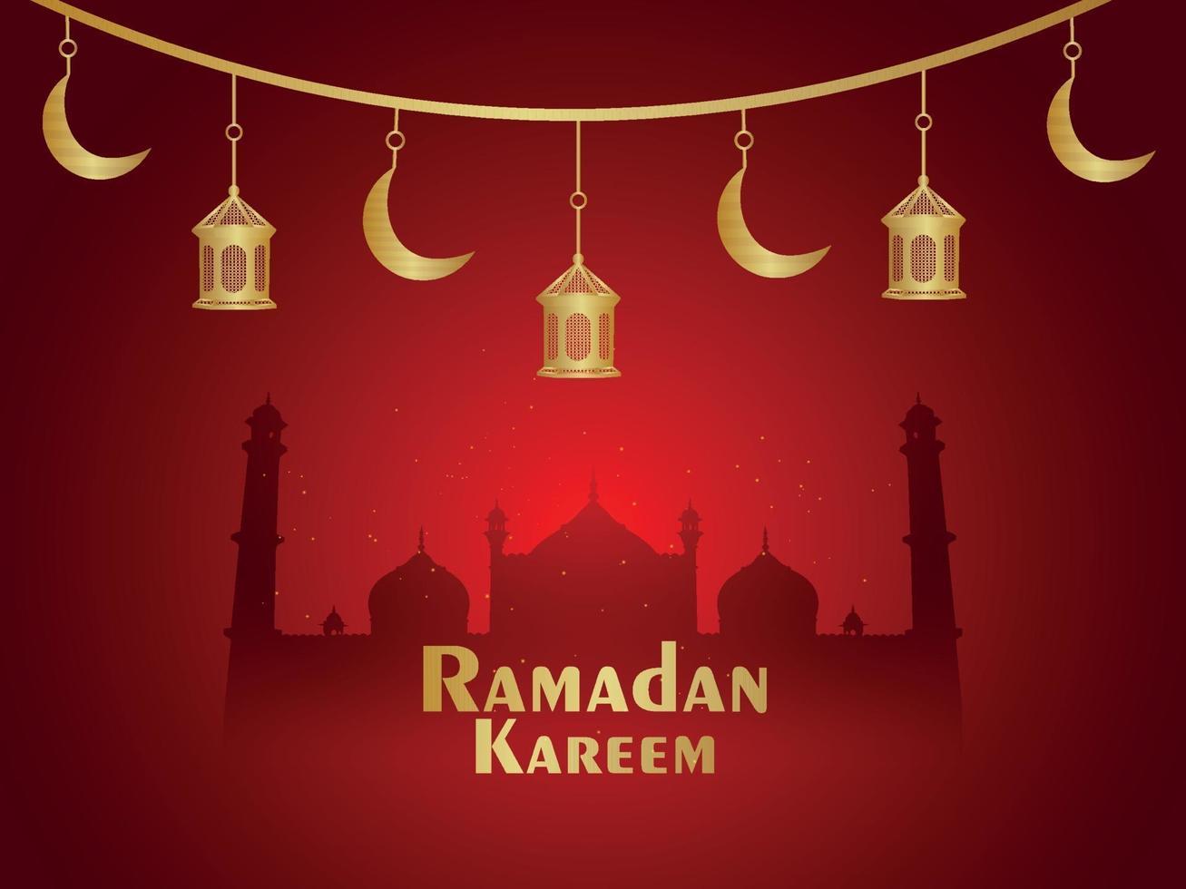 ramadan kareem célébration festival islamique avec fond de lanternes créatives vecteur